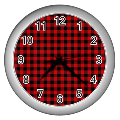Lumberjack Plaid Fabric Pattern Red Black Wall Clocks (Silver)