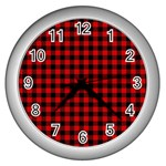 Lumberjack Plaid Fabric Pattern Red Black Wall Clocks (Silver)  Front