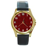 Lumberjack Plaid Fabric Pattern Red Black Round Gold Metal Watch Front