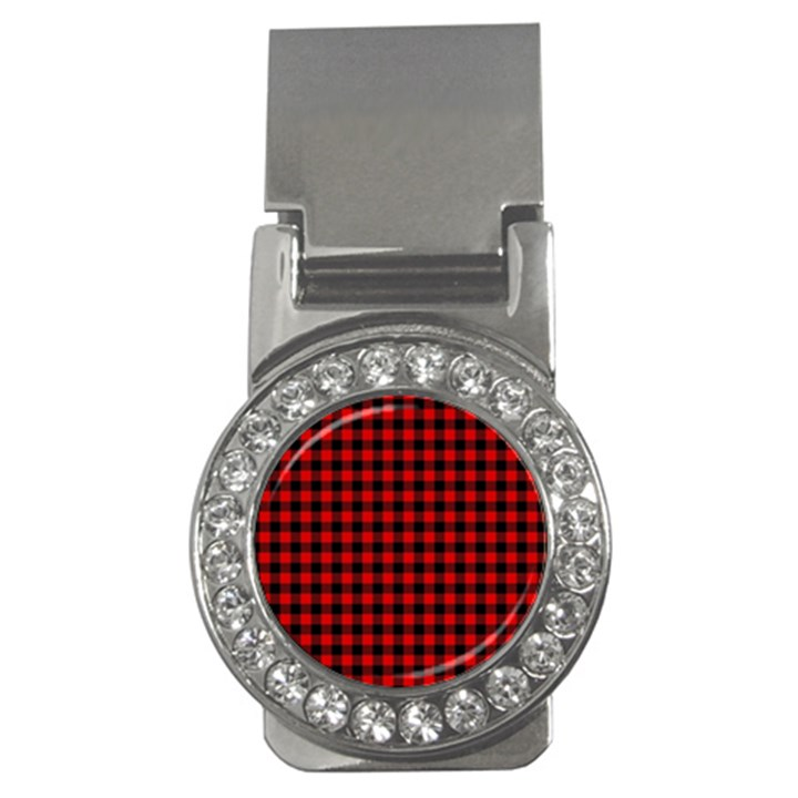 Lumberjack Plaid Fabric Pattern Red Black Money Clips (CZ)
