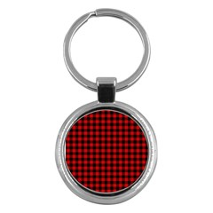 Lumberjack Plaid Fabric Pattern Red Black Key Chains (Round)