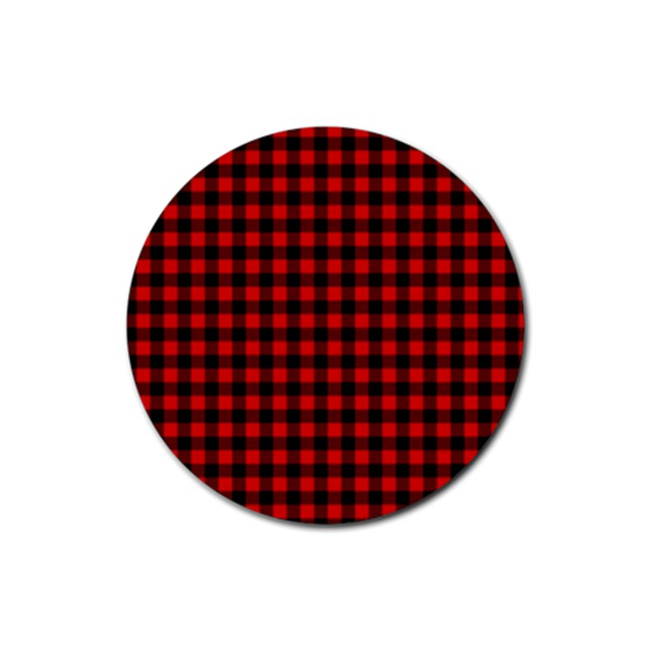Lumberjack Plaid Fabric Pattern Red Black Rubber Round Coaster (4 pack)