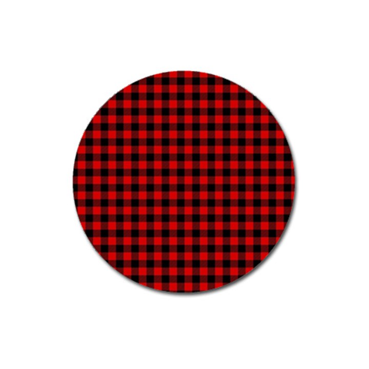 Lumberjack Plaid Fabric Pattern Red Black Magnet 3  (Round)