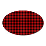 Lumberjack Plaid Fabric Pattern Red Black Oval Magnet Front