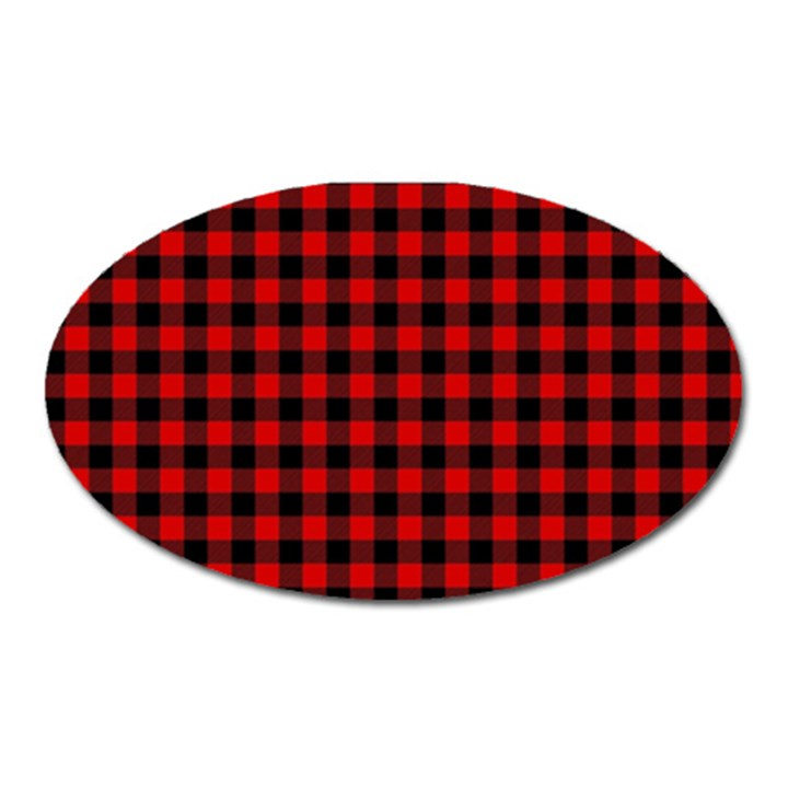 Lumberjack Plaid Fabric Pattern Red Black Oval Magnet