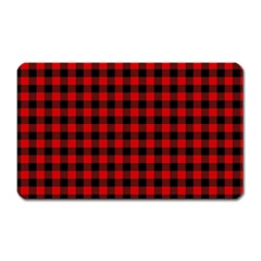 Lumberjack Plaid Fabric Pattern Red Black Magnet (Rectangular)
