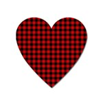 Lumberjack Plaid Fabric Pattern Red Black Heart Magnet Front