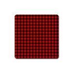 Lumberjack Plaid Fabric Pattern Red Black Square Magnet Front