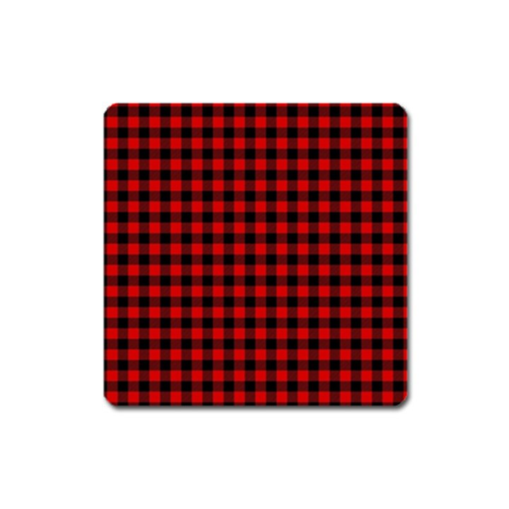 Lumberjack Plaid Fabric Pattern Red Black Square Magnet