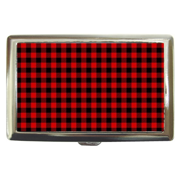 Lumberjack Plaid Fabric Pattern Red Black Cigarette Money Cases