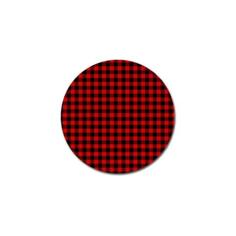 Lumberjack Plaid Fabric Pattern Red Black Golf Ball Marker