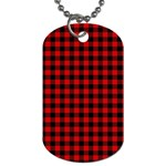 Lumberjack Plaid Fabric Pattern Red Black Dog Tag (Two Sides) Front