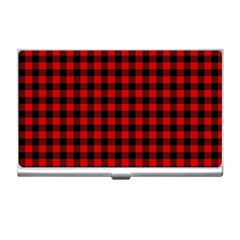 Lumberjack Plaid Fabric Pattern Red Black Business Card Holders
