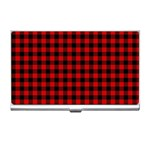 Lumberjack Plaid Fabric Pattern Red Black Business Card Holders Front