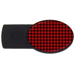 Lumberjack Plaid Fabric Pattern Red Black USB Flash Drive Oval (1 GB)
