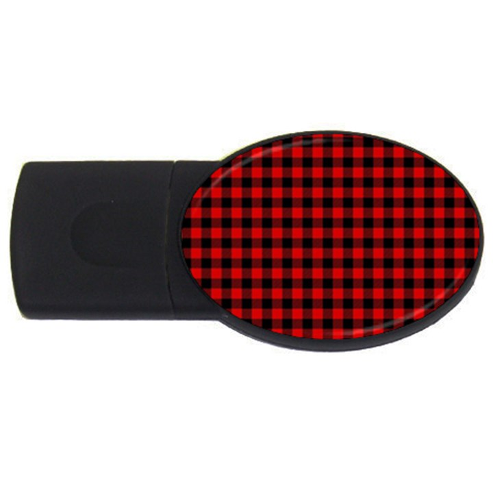 Lumberjack Plaid Fabric Pattern Red Black USB Flash Drive Oval (1 GB)