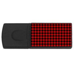 Lumberjack Plaid Fabric Pattern Red Black USB Flash Drive Rectangular (2 GB)