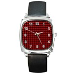 Lumberjack Plaid Fabric Pattern Red Black Square Metal Watch Front