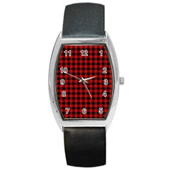 Lumberjack Plaid Fabric Pattern Red Black Barrel Style Metal Watch