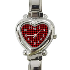 Lumberjack Plaid Fabric Pattern Red Black Heart Italian Charm Watch