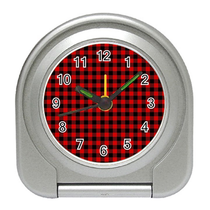 Lumberjack Plaid Fabric Pattern Red Black Travel Alarm Clocks