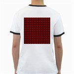 Lumberjack Plaid Fabric Pattern Red Black Ringer T-Shirts Back