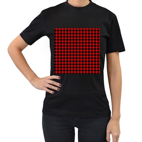 Lumberjack Plaid Fabric Pattern Red Black Women s T-Shirt (Black) (Two Sided)