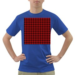 Lumberjack Plaid Fabric Pattern Red Black Dark T Shirt