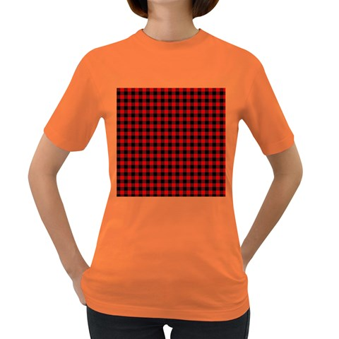 Lumberjack Plaid Fabric Pattern Red Black Women s Dark T-Shirt