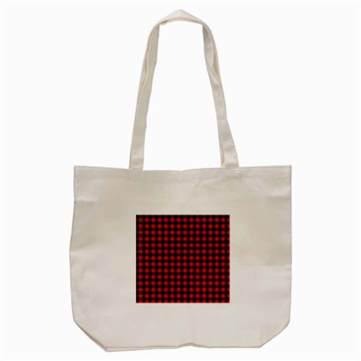 Lumberjack Plaid Fabric Pattern Red Black Tote Bag (Cream)