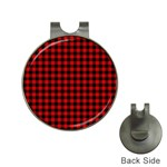 Lumberjack Plaid Fabric Pattern Red Black Hat Clips with Golf Markers Front
