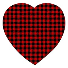 Lumberjack Plaid Fabric Pattern Red Black Jigsaw Puzzle (heart)