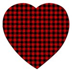 Lumberjack Plaid Fabric Pattern Red Black Jigsaw Puzzle (Heart) Front