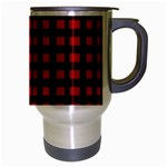 Lumberjack Plaid Fabric Pattern Red Black Travel Mug (Silver Gray) Right