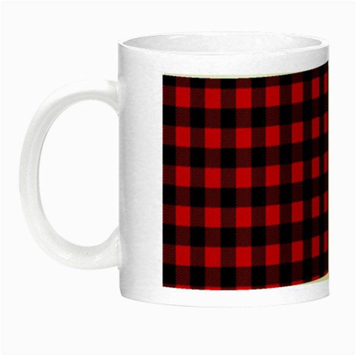 Lumberjack Plaid Fabric Pattern Red Black Night Luminous Mugs