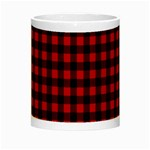 Lumberjack Plaid Fabric Pattern Red Black Night Luminous Mugs Center