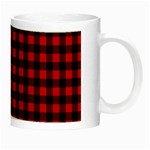 Lumberjack Plaid Fabric Pattern Red Black Night Luminous Mugs Right