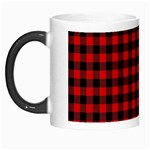 Lumberjack Plaid Fabric Pattern Red Black Morph Mugs Left