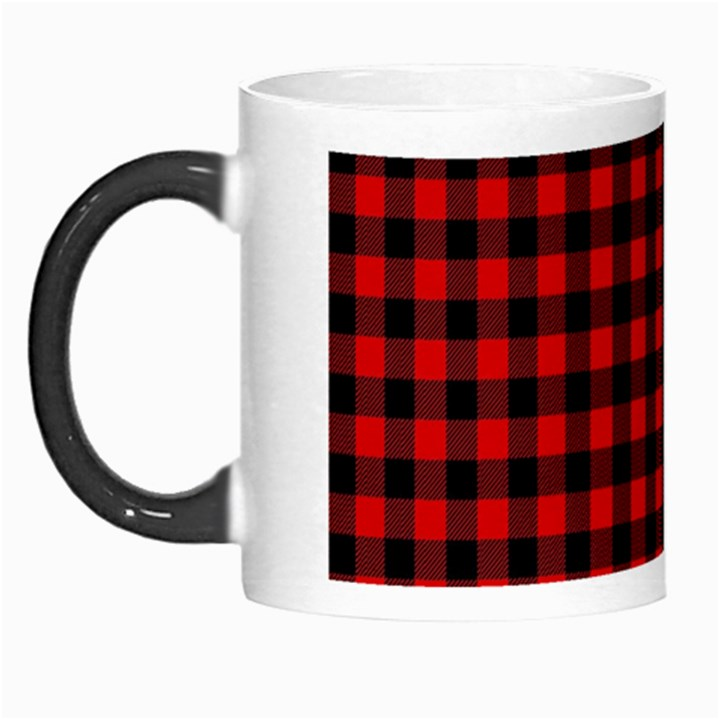 Lumberjack Plaid Fabric Pattern Red Black Morph Mugs