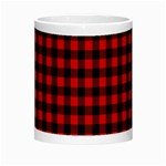 Lumberjack Plaid Fabric Pattern Red Black Morph Mugs Center