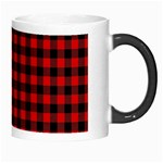 Lumberjack Plaid Fabric Pattern Red Black Morph Mugs Right