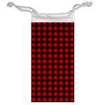 Lumberjack Plaid Fabric Pattern Red Black Jewelry Bags Back