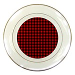 Lumberjack Plaid Fabric Pattern Red Black Porcelain Plates Front