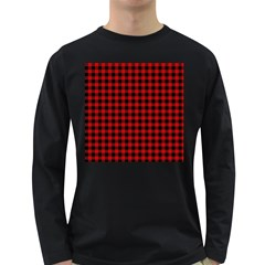Lumberjack Plaid Fabric Pattern Red Black Long Sleeve Dark T-Shirts