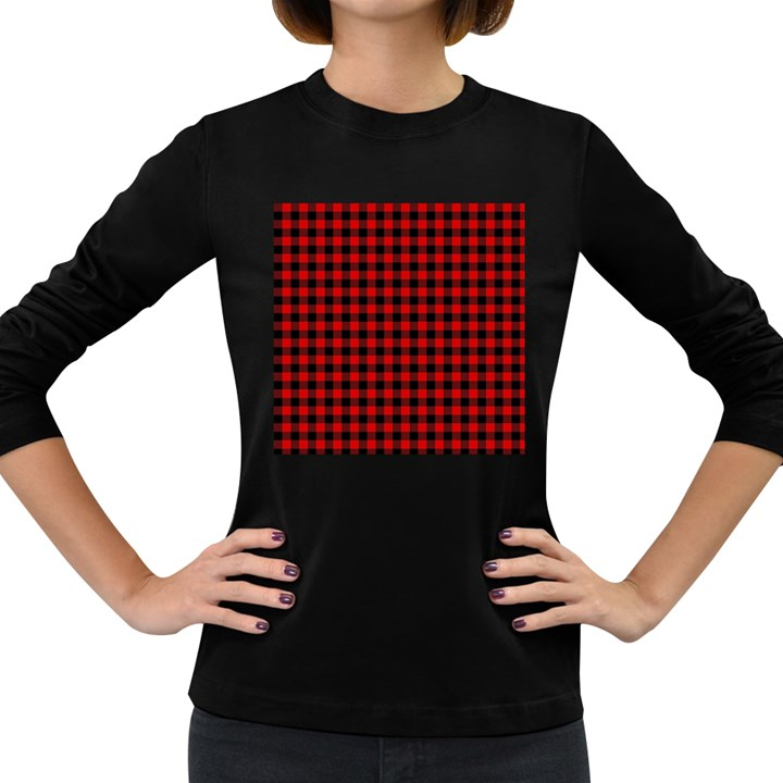 Lumberjack Plaid Fabric Pattern Red Black Women s Long Sleeve Dark T-Shirts