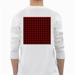Lumberjack Plaid Fabric Pattern Red Black White Long Sleeve T-Shirts Back