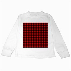Lumberjack Plaid Fabric Pattern Red Black Kids Long Sleeve T Shirts