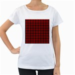 Lumberjack Plaid Fabric Pattern Red Black Women s Loose-Fit T-Shirt (White) Front