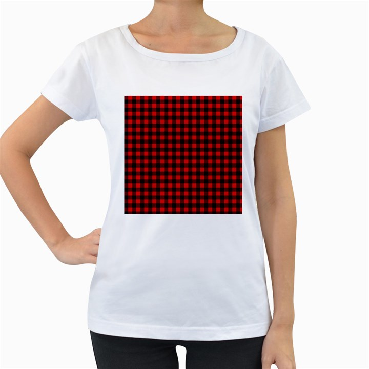 Lumberjack Plaid Fabric Pattern Red Black Women s Loose-Fit T-Shirt (White)