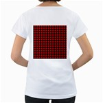 Lumberjack Plaid Fabric Pattern Red Black Women s Loose-Fit T-Shirt (White) Back